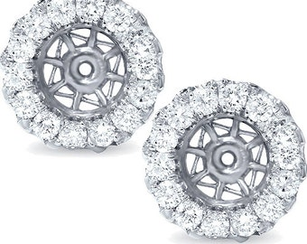SI .95CT Diamond Earring Jackets 14K Whtie Gold Halo Style Fits up to 7MM Round Stone
