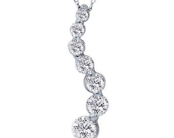 """1.00CT Diamond Journey Pendant 14 KT White Gold With 18"""" Chain"""