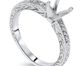 Vintage Diamond Engagement Ring Semi Mount Antique Mounting Setting 14 Karat White Gold