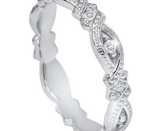 1/5CT VS Vintage Diamond Sculptural Eternity Ring 14K White Gold Wedding Antique Style Engraved Milgrain Band 4MM