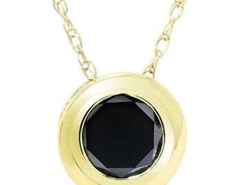 14K Yellow Gold .55CT Black Diamond Bezel Solitaire Pendant Round Brilliant Cut