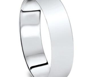 Wedding Ring, Wedding Band, White Gold Wedding Band, Mens 14K White Gold Plain High Polished Wedding Ring Comfort Fit Band 6mm (sizes 5-11)