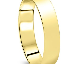 Men's 14k Yellow Gold 5mm Dome Plain Wedding Band High Polish