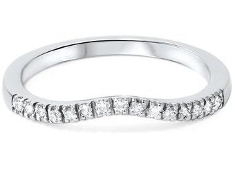 Curved .12CT Diamond Wedding Ring 950 Platinum