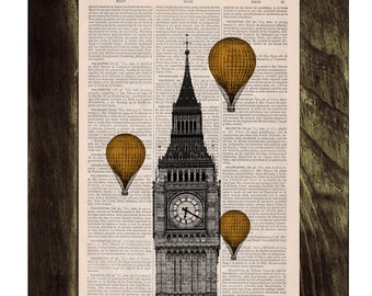Vintage Book Print - London Big Ben Tower  Golden Yellow color Balloon Ride Print on Vintage Book art TVH013