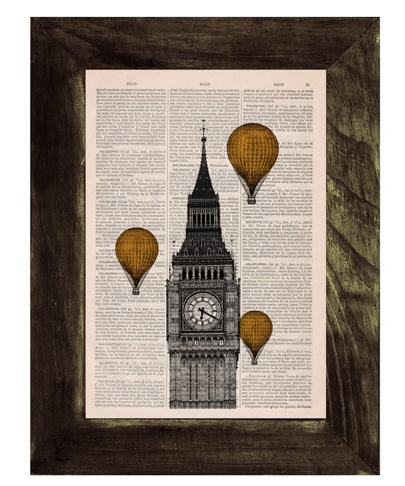 Spring Sale Vintage Book Print - London Big Ben Tower  Golden Yellow color Balloon Ride Print on Vintage Book art BPTV013