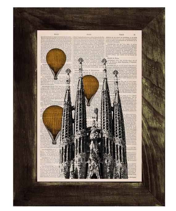 Spring Sale intage Book Print - Barcelona Sagrada Familia Golden Yellow colored Balloons Ride Print art Gaudi Holy Family BPTV020