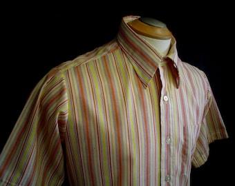 "60s 15"" Stuart Keith Men's S/S Shirt Yellow Orange Striped"