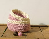 Pink bowls - cotton and hemp organic  - Dusty pink with Creamy white accent - nesting bowls romantic cottage wedding bridal - theYarnKitchen