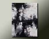 Original ABSTRACT Modern PAINTING Black and White Contemporary Fine Art by Idil Kamlik