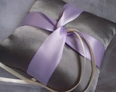 Periwinkle Love Knot on Platinum Satin Ring Bearer Pillow