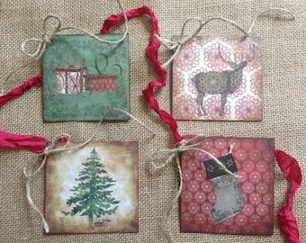 Christmas Tags, Gifts, Gift Tags, Set of 8