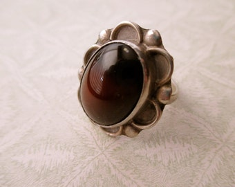 vintage sterling silver ring- agate, natural stone, size 7.5