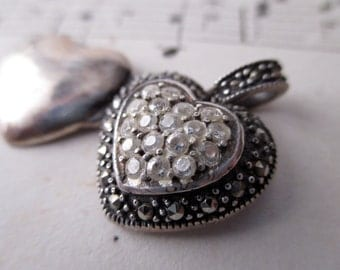 sterling silver heart locket with CZs and marcasites