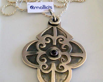 Arabesque Charm One of A kind Sterling Silver Necklace. Ready To Ship By Amallias