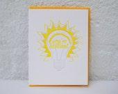 you're brilliant - letterpress card - congratulations - neon yellow - lightbulb - genius - bright - idea - lightbulb - glow