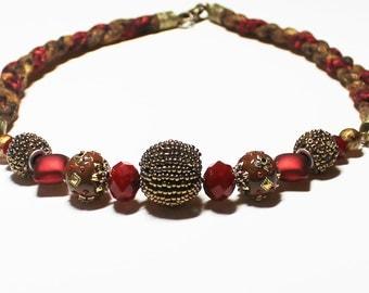 Fabric necklace - Fiber art necklace - Woodland necklace - Textile necklace