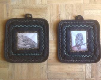 Owl and Lizard Art Transfer Black Potholder Set