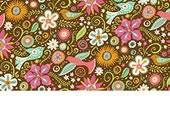Quilting Treasures - Floral and Birds in Brown - Lily - BJ Lantz - By The Yard (LOW STOCK)