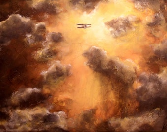 Clouds and Bi Plane Print - 11 x 14, Art print to lift the spirits, airplane pilot in sunset