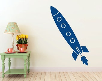 long Rocket Ship, vinyl Wall DECAL- space interior design, sticker art, room, home and business decor
