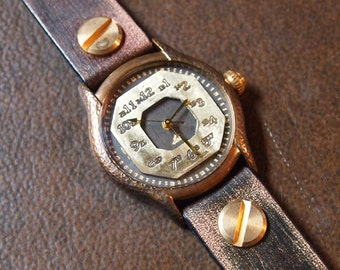 Vintage Retro Steampunk Handcraft Wrist Watch with Leather Band /// Petpo - Perfect Gift for Birthday and Anniversary