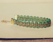 Alice : Antique Gold Lace Passementerie Bracelet, emerald green silk accent, luxury friendship, delicate, vintage bride, bridesmaid gift