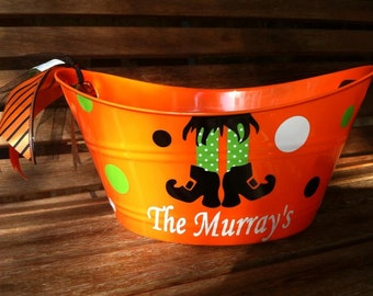 Personalized Halloween Bucket-Hostess Gift-Easter Bucket-Candy Pail-Party Favor-Ice Bucket-Book Holder