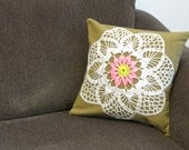 decorative pillow cover / 14 x 14 / vintage doily applique / olive, white and hot pink