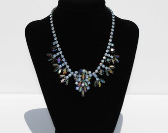Vintage Bermuda Blue Rhinestone Necklace
