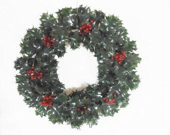 "Mid Century Christmas Decor Wreaths Centerpiece Plastic Evergreen 15"" and 13"" Set"
