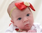 Girls Red Bow Headband Hair Accessories