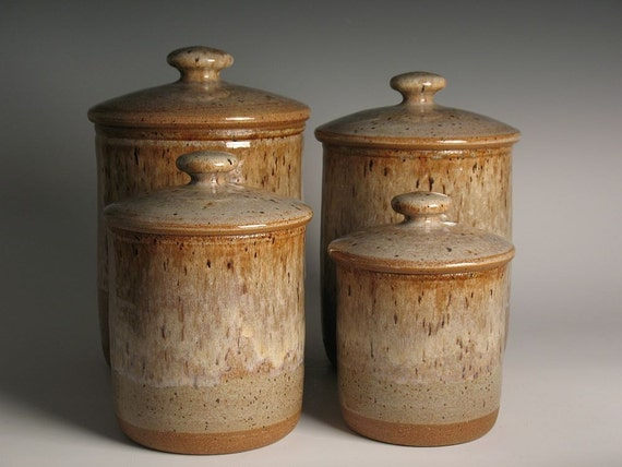 Pottery Kitchen Canisters Stoneware Canister Set 4 Pottery