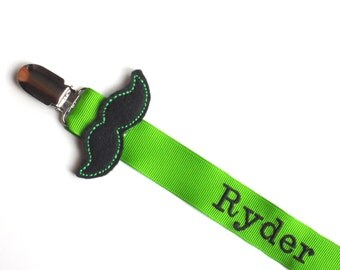 Personalized  Pacifier Clip Mustache Pacifier Clip Personalized Baby Boy Pacifier Holder Soothie Nuk Mam you pick Great for Twins