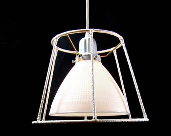 Lamp Shade Vintage Custom Chandelier White Milk Glass Pendant Re-Purposed Industrial Diffuser