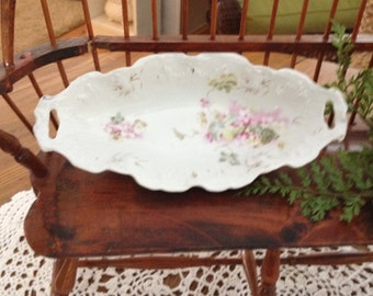 Flowered China Serving Dish