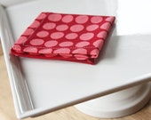 Cloth Cocktail Napkin - Red with Pink Polka Dots - Set of 4 - Eco Friendly option