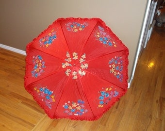 Made to Order Large Red Ruffled Parasol Umbrella for Rain or Shine