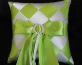 Ring Bearer Pillow, Ring Pillow, Pillow, Wedding Ring Pillow, Sawarovski Crystals, Lime green pillow, white ring pillow,  Custom Order