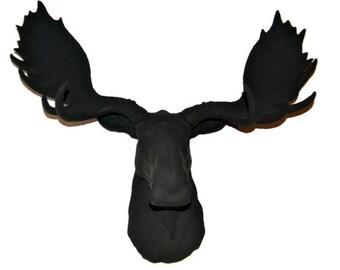 Black Moose Head  - Faux Taxidermy Moose M1717