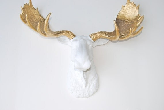 White moose head faux taxidermy gold faux antlers by nearanddeer - Fake moose head mount ...
