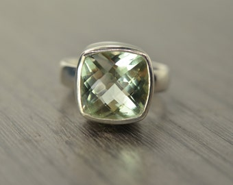 Prasiolite Ring, Cushion Solitaire, green amethyst 5ct ring