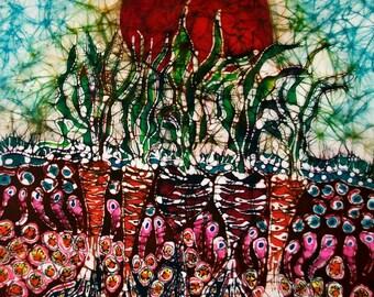 Growing Sun Energy On Garden  - print from original batik - Garden - Sun