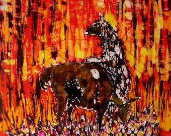 Llamas in Afternoon Light  -  batik print from original
