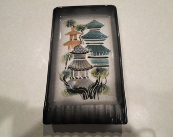 Sascha Brastoff Asian Pagoda Design Mid Century Ashtray