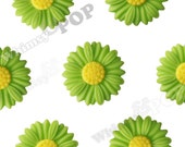 27mm - Large Matte Green Apple Daisy Sunflower Resin Cabochons, Daisy Cabochons, Flower Cabochons, Sunflower Cabochons (R6-041)
