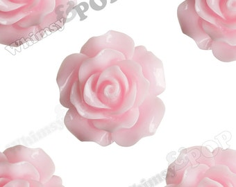 Large Detailed Soft Pink Rose Deco Resin Cabochons, Flower Shaped, Flatback Roses, Flat Back Roses, Flower Cabochons, 20mm (R1-022)