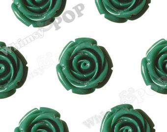 Large Grass Green Rose Beads, Flower Beads, 21mm Flower Beads, Drilled Flowers (R7-076)