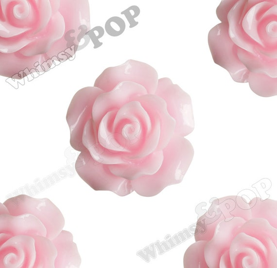 Large Detailed Soft Pink Rose Deco Resin Cabochons, Flower Shaped, Flatback Roses, Flat Back Roses, Flower Cabochons, 20mm (R1-022)