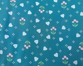 Heavy Cotton Fabric Teal Blue Turquoise Hearts and Tulips Yardage